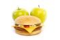 Two healthy apples behind a hamburger