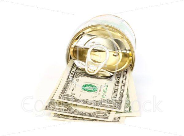 An open tin can of dollar bills with a pull tab - EggHeadStock
