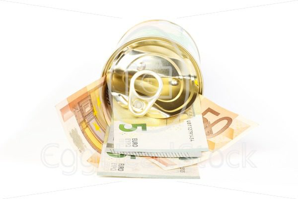 An open tin can of euro banknotes with a pull tab - EggHeadStock