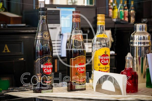 Bottles of Havana Club rum at a bar in Havana - EggHeadStock