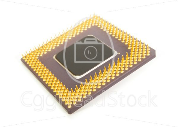 Bottom of a computer processor chip - EggHeadStock