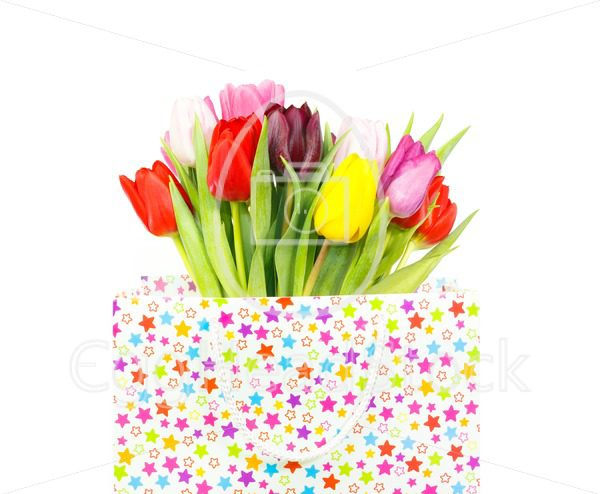 Bouquet of tulips in a gift bag - EggHeadStock