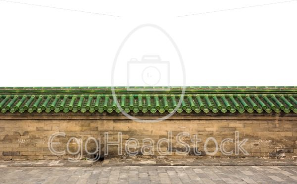 Brick sandstone wall with green glazed roof tiles - EggHeadStock
