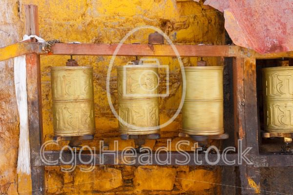 Buddhist prayer wheels in Lhasa, Tibet - EggHeadStock