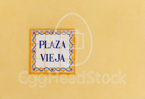 Ceramic street sign on the Plaza Vieja in Havana, Cuba - EggHeadStock