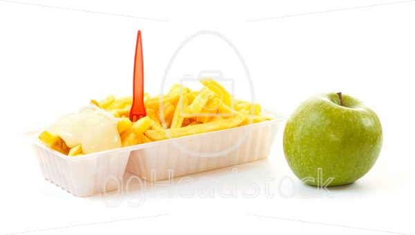 Choosing a healthy apple or an unhealthy portion of French fries - EggHeadStock