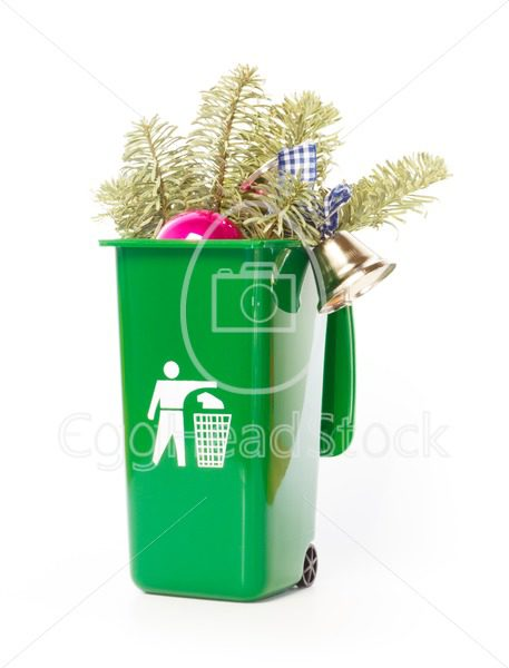 Christmas tree in the green wheelie bin - EggHeadStock