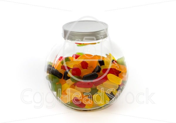 Closed jar filled with wine gums - EggHeadStock