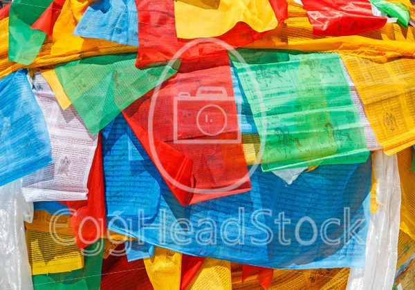 Colorful prayer flags and Tibetan scarf - EggHeadStock