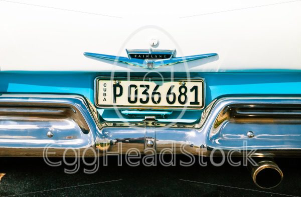Cuban license plate on a Ford Fairlane - EggHeadStock