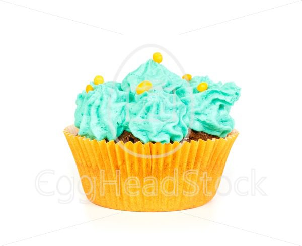 Cupcake with blue cream frosting - EggHeadStock