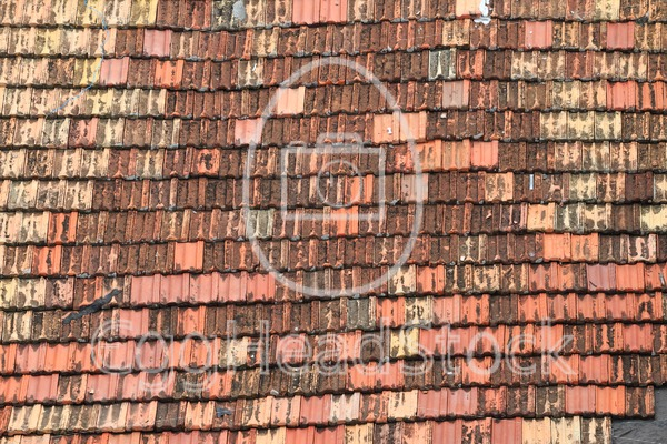 Detail of old roof tiles in uneven colors - EggHeadStock