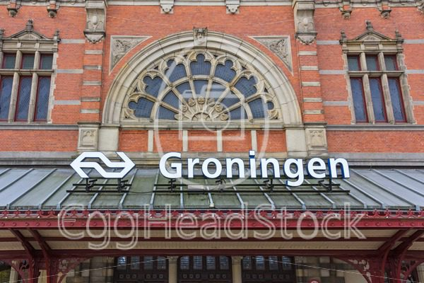 Detail of the central station building in Groningen, Netherlands - EggHeadStock