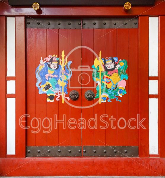 Door gods on red doors in China - EggHeadStock