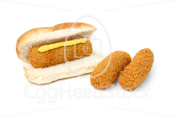 Dutch croquette sandwich with mustard two separate croquettes - EggHeadStock