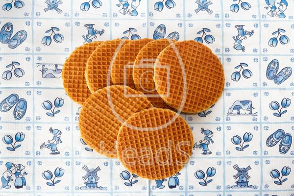 Dutch waffles on Delft Blue background - EggHeadStock