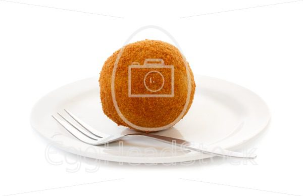 Egg ball (Eierbal) served on saucer - EggHeadStock