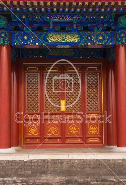 Entrance to a building in Tiantan Park, China - EggHeadStock