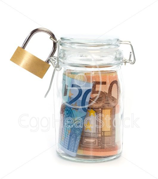 Euro banknotes in sealed jar with padlock - EggHeadStock
