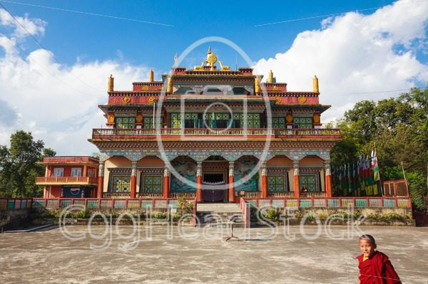 Front facade of the Buddhist Matepani Gumba monastery in Pokhara, Nepal - EggHeadStock