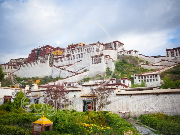 Garden at the front of the Potala Palace in Lhasa - EggHeadStock