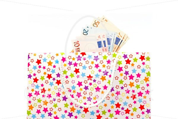 Gift bag with euro banknotes - EggHeadStock