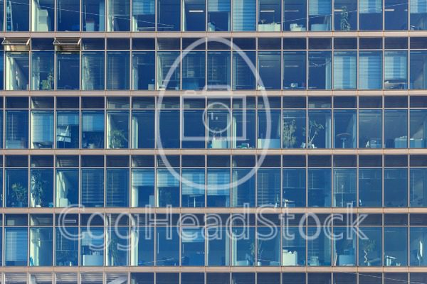 Glimpse into the workplaces of an office building with blue glass windows - EggHeadStock