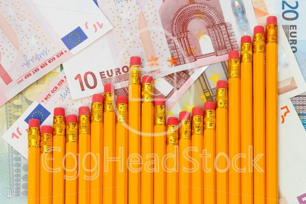 Graph of pencils against background of euro banknotes - EggHeadStock