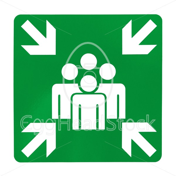 Green assembly point sign - EggHeadStock