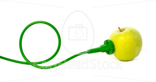 Green power cord plugged into apple outlet - EggHeadStock