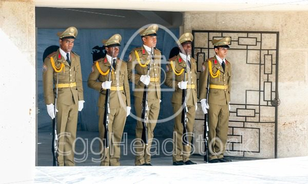 Guards during changing of the guard at the mausoleum of José Martí at the Cementerio Santa Ifigenia in Santiago de Cuba - EggHeadStock