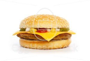 Hamburger with cheese, pickles, onion and sauce - EggHeadStock
