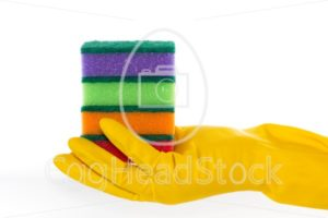 Hand in rubber glove holds cleaning sponges - EggHeadStock