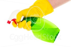 Hand with household gloves holding a spray bottle - EggHeadStock