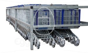 Isolated row of metal shopping carts - EggHeadStock