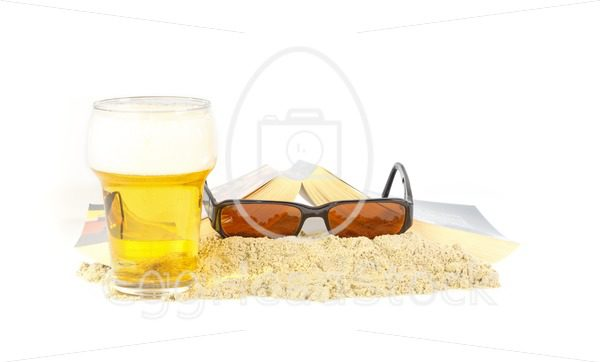 Leisure time on the beach with a book and a beer - EggHeadStock