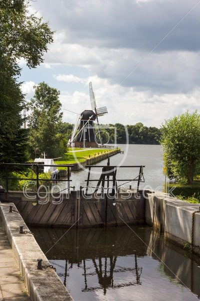 Lock gates and Dutch windmill - EggHeadStock
