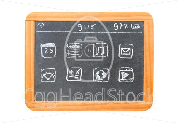 Modern tablet computer drawn on a chalkboard tablet - EggHeadStock