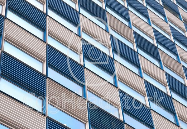 Office facade with ripples in blue and white - EggHeadStock
