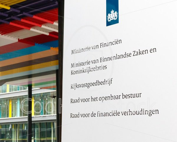 Office sign at the Dutch Ministry of Finance, Ministry of Interior and Kingdom Relations and other departments of the central government - EggHeadStock