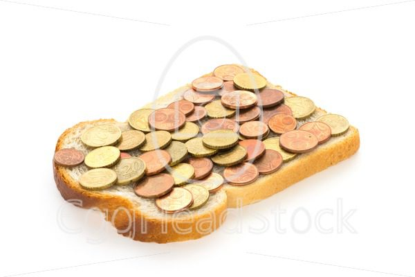 One slice of bread with euro mix spread - EggHeadStock