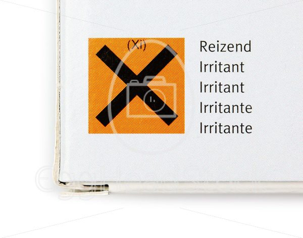Packaging with hazard symbol for irritant substance - EggHeadStock