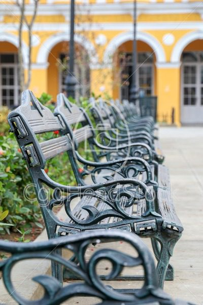 Park benches in a row - EggHeadStock