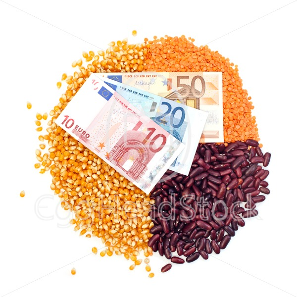 Pie chart of corn, lentils, kidney beans and euro notes on top - EggHeadStock