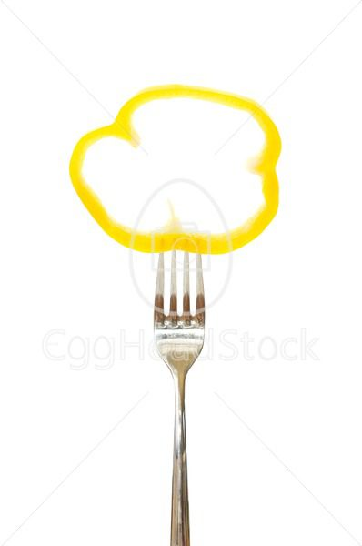 Piece of a bell pepper pinned on a fork - EggHeadStock