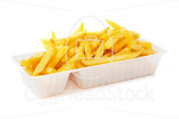 Portion of fries in disposable tray - EggHeadStock