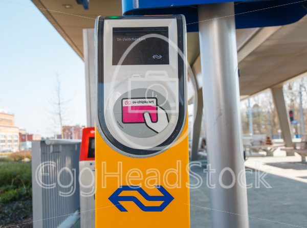 Public transport chipcard reader at a railway station in the Netherlands - EggHeadStock