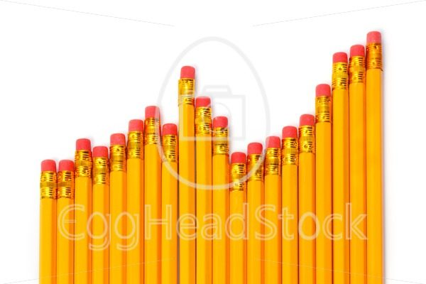 Rising graph of pencils against white background - EggHeadStock