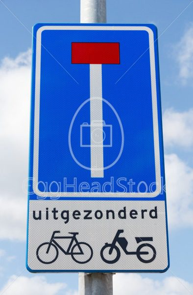 Road sign indicating dead end except for cyclists and mopeds - EggHeadStock