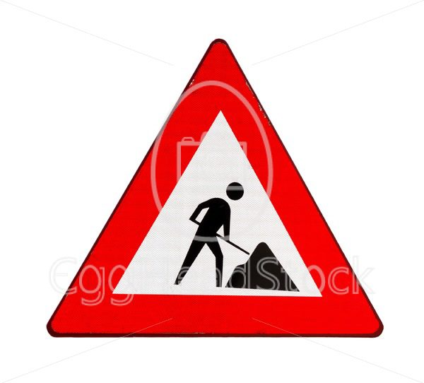 Road sign roadworks - EggHeadStock